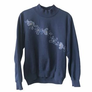 Alfred Dunner Navy Blue Floral Embroidered Sweater